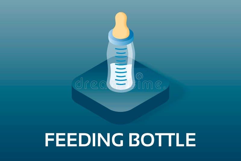 Απλά διανυσματικά Isometric μωρό και εικονίδιαPregnancyΜπουκάλι σίτισης αγοράκι με το γάλα Διανυσματικό σύμβολο στο isometric  απεικόνιση αποθεμάτων