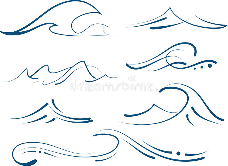 Απλά κύματα καθορισμένα απεικόνιση αποθεμάτων