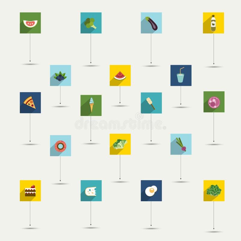 Απλά minimalistic επίπεδο σύνολο εικονιδίων συμβόλων τροφίμων και διατροφής διανυσματική απεικόνιση