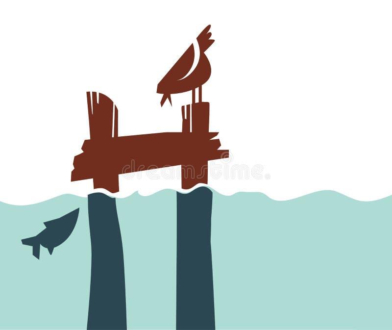 Απλή αποβάθρα αναδρομικός-ύφους με το πουλί και τα ψάρια διανυσματική απεικόνιση