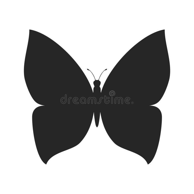 Απλή μορφή σκιαγραφιών πεταλούδων διανυσματική απεικόνιση
