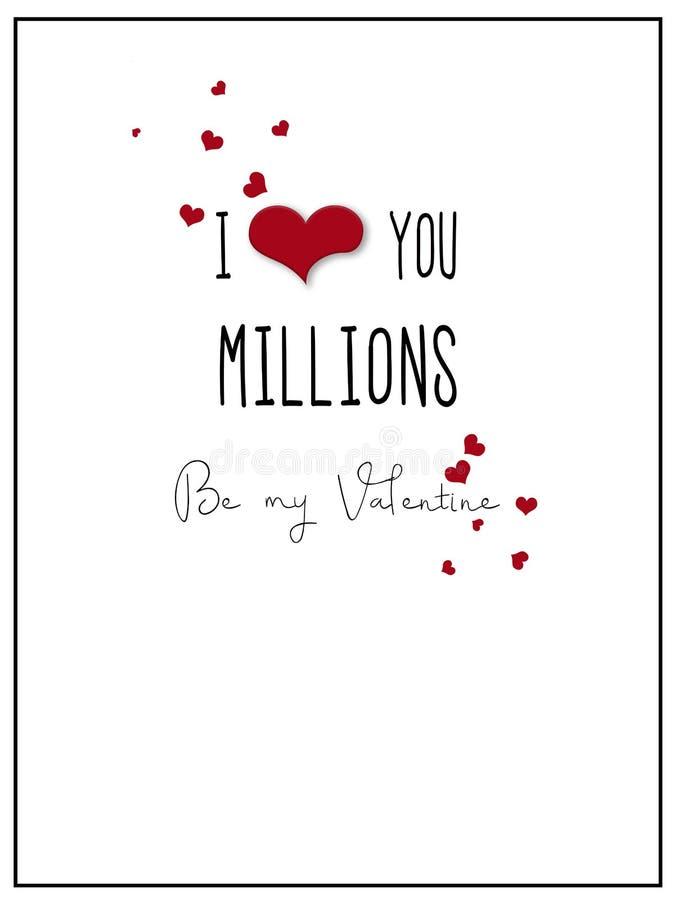 Απλή σ' αγαπώ κάρτα βαλεντίνων εκατομμυρίων διανυσματική απεικόνιση