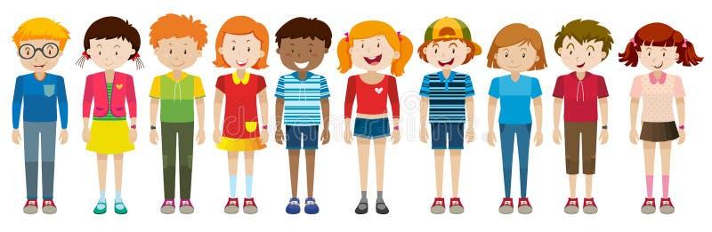 Απλοί χαρακτήρες των αγοριών και των κοριτσιών ελεύθερη απεικόνιση δικαιώματος