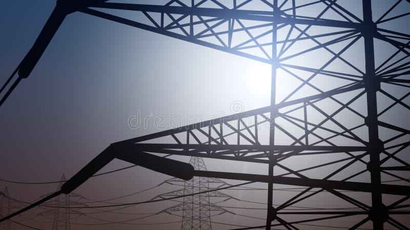 Απλουστευμένο ηλεκτροφόρο καλώδιο ενάντια στο σαφή ουρανό, μεγάλο υψόμετρο τρισδιάστατη απόδοση στοκ φωτογραφία με δικαίωμα ελεύθερης χρήσης