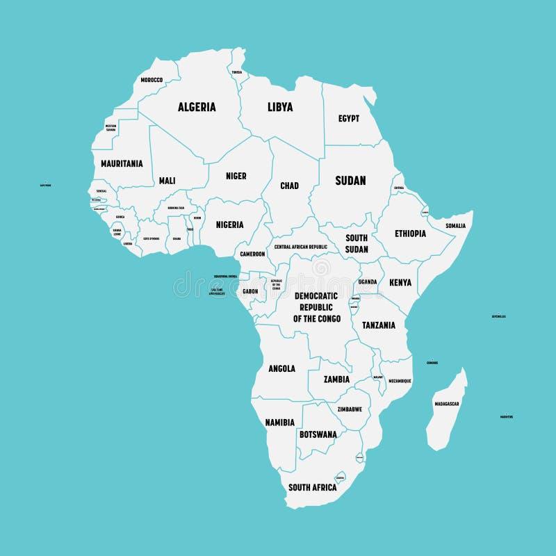 Απλός επίπεδος χάρτης της ηπείρου της Αφρικής με τα εθνικές σύνορα και τις ετικέτες ονόματος χωρών στο μπλε υπόβαθρο διάνυσμα διανυσματική απεικόνιση
