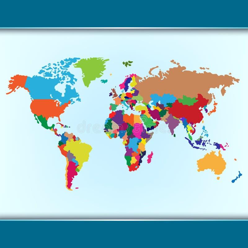 Απλός ζωηρόχρωμος παγκόσμιος χάρτης απεικόνιση αποθεμάτων