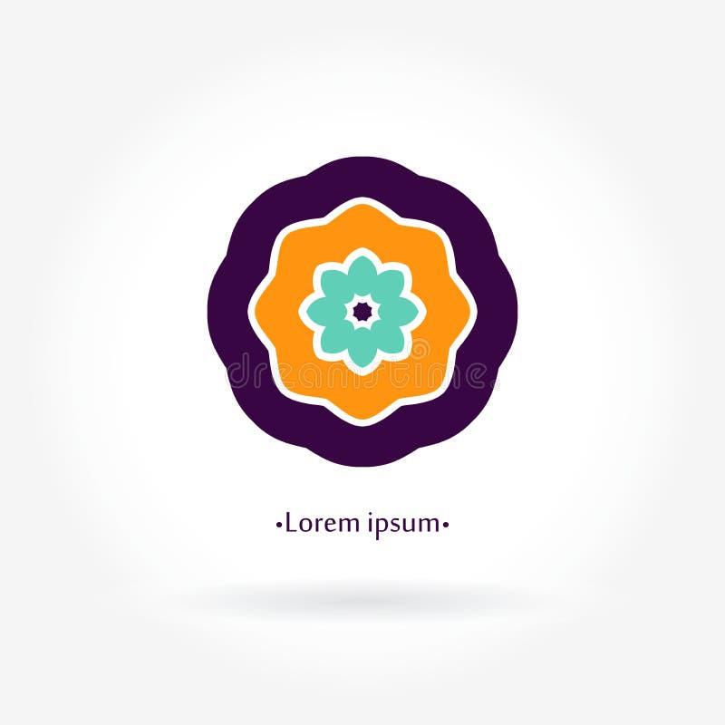 Απλό γεωμετρικό λογότυπο mandala Φωτεινό juicy αφηρημένο λουλούδι logotype Επιχείρηση διανυσματική απεικόνιση