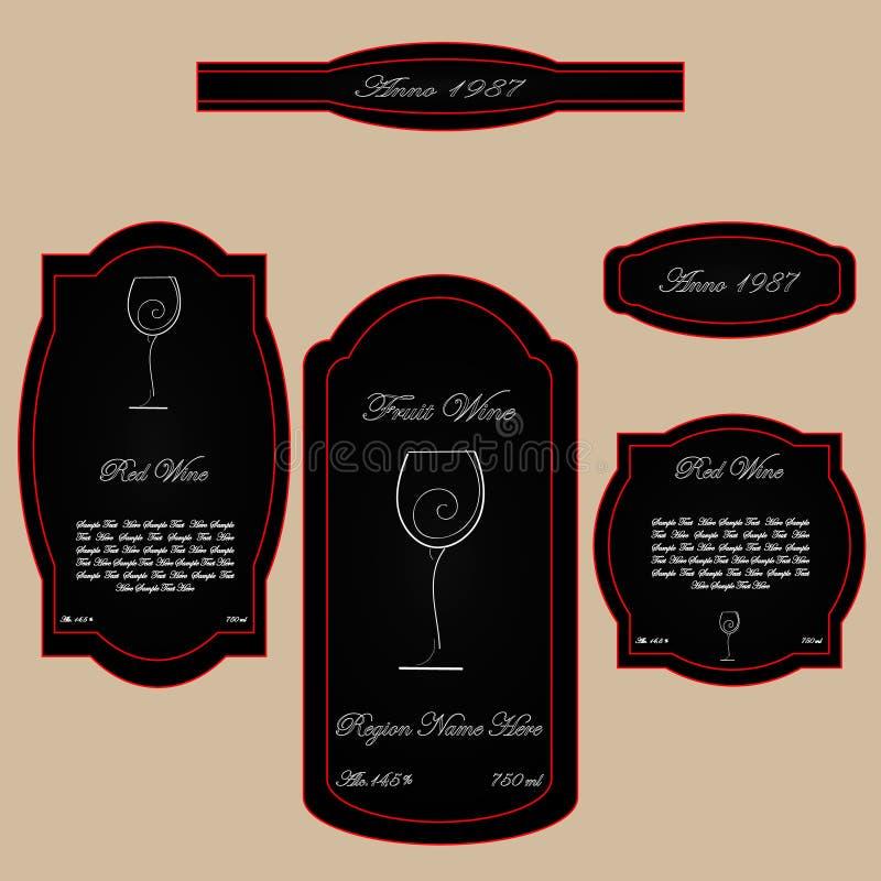 Απλό εκλεκτής ποιότητας μαύρο κόκκινο ετικετών κρασιού απεικόνιση αποθεμάτων