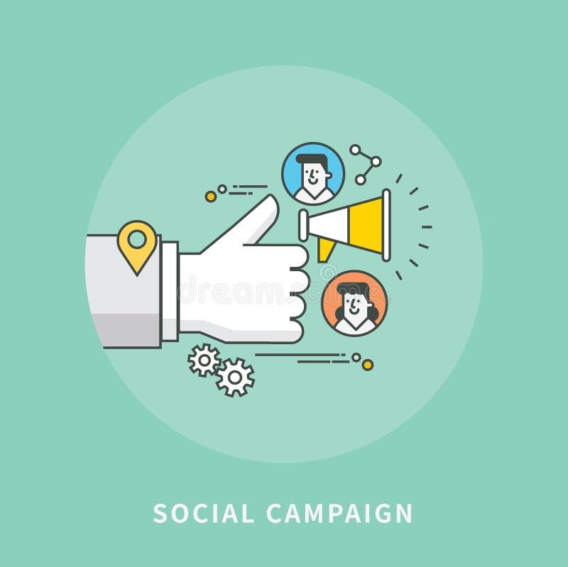 Απλό επίπεδο σχέδιο γραμμών της κοινωνικής εκστρατείας Ιστού, σύγχρονη απεικόνιση διανυσματική απεικόνιση
