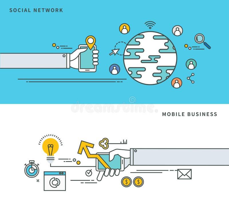Download Απλό επίπεδο σχέδιο γραμμών του κοινωνικών δικτύου & της κινητής επιχείρησης, σύγχρονη διανυσματική απεικόνιση Διανυσματική απεικόνιση - εικονογραφία από διαδίκτυο, επικοινωνία: 62717567