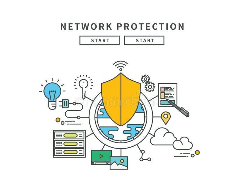 Απλό επίπεδο σχέδιο γραμμών χρώματος της προστασίας δικτύων, σύγχρονη απεικόνιση απεικόνιση αποθεμάτων