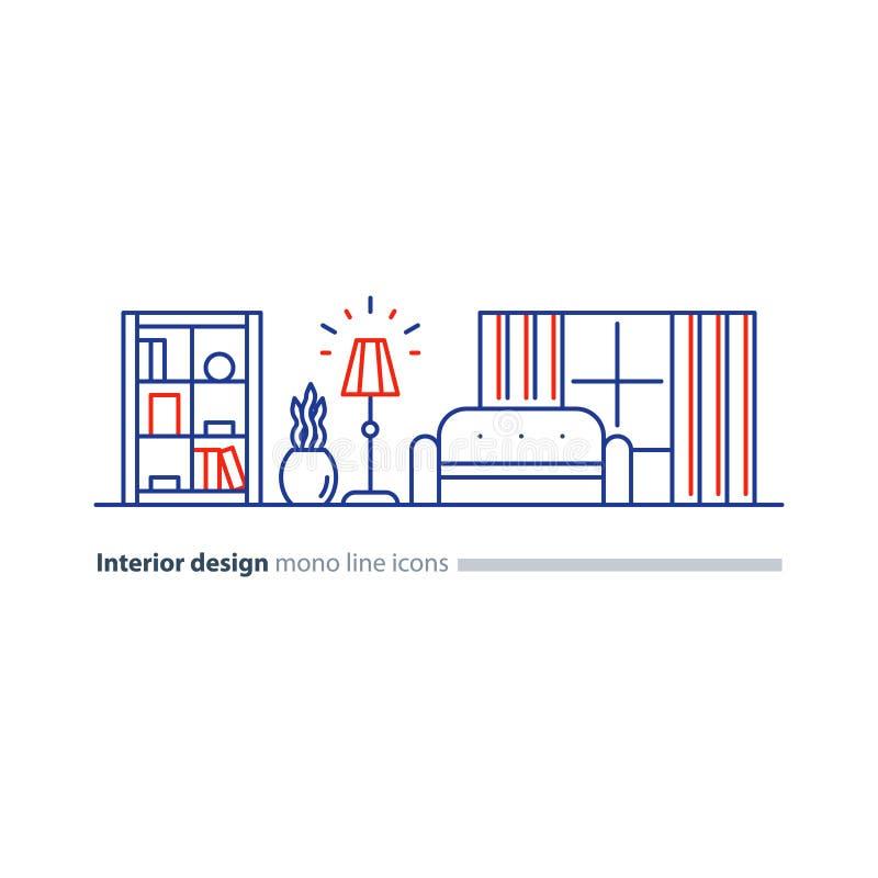 Απλό εσωτερικό, υπηρεσίες σχεδίου διαμερισμάτων, εικονίδια επίπλων γραμμών καθορισμένα απεικόνιση αποθεμάτων