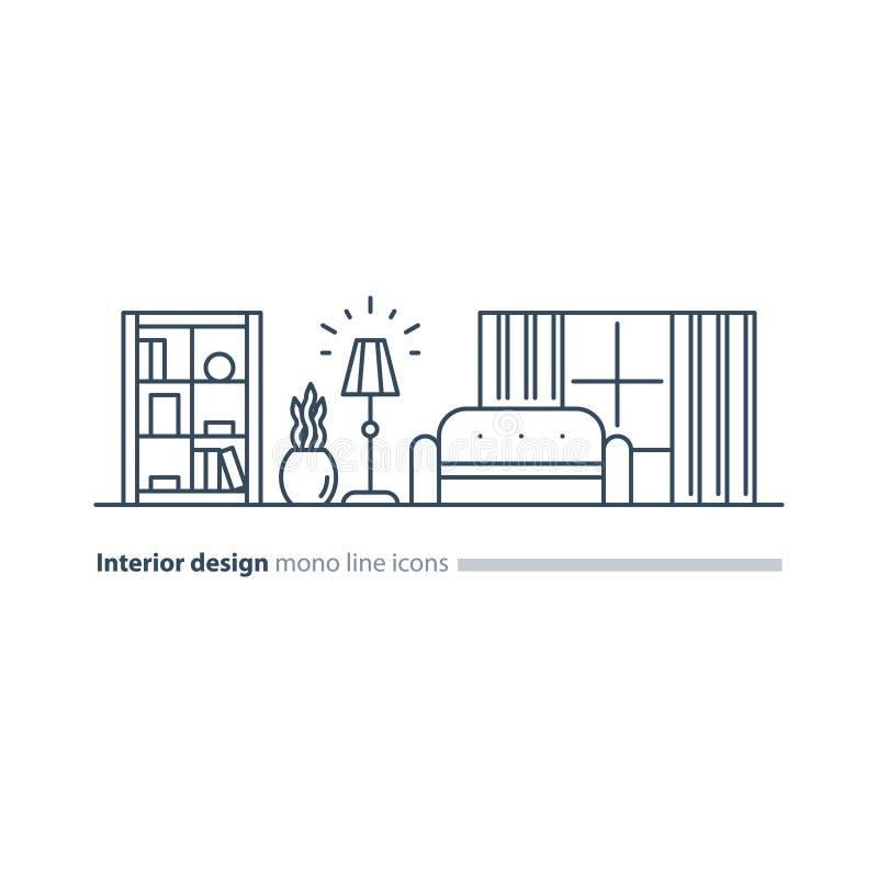 Απλό εσωτερικό, υπηρεσίες σχεδίου διαμερισμάτων, εικονίδια επίπλων γραμμών καθορισμένα διανυσματική απεικόνιση