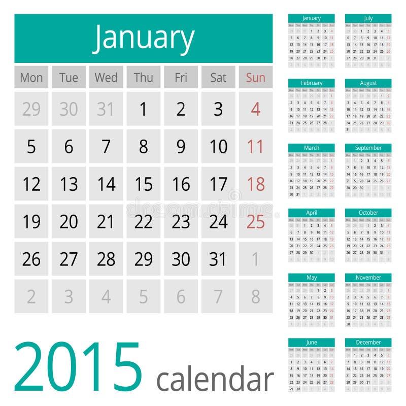 Απλό ευρωπαϊκό διανυσματικό ημερολόγιο έτους του 2015 απεικόνιση αποθεμάτων