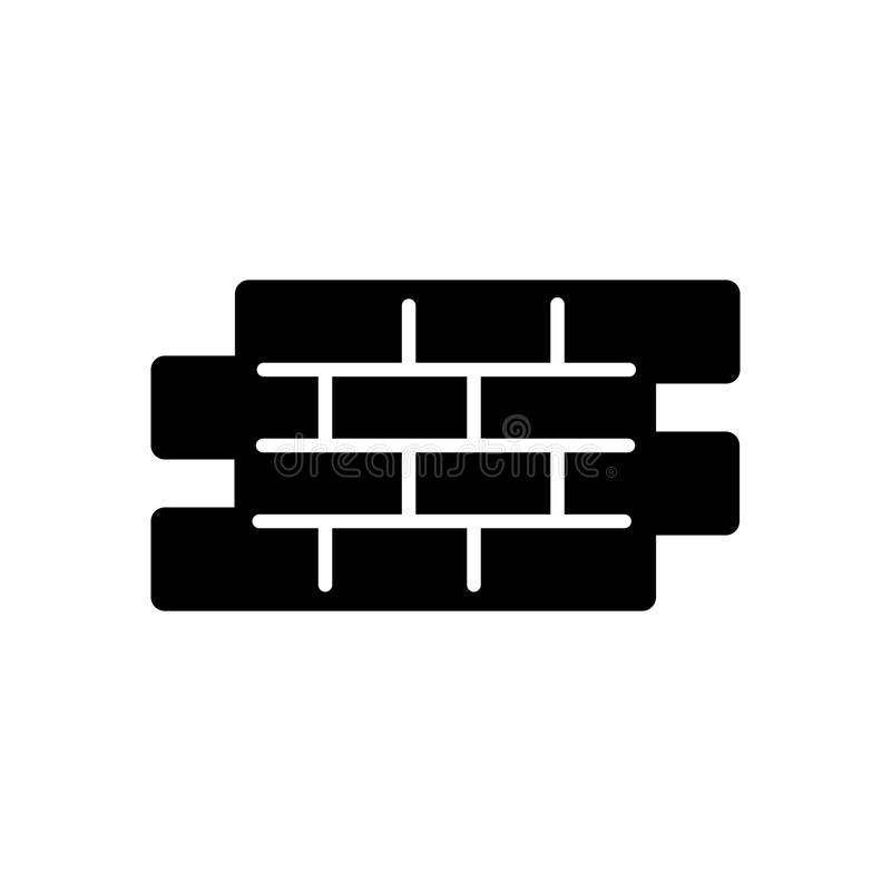 Απλό διανυσματικό εικονίδιο τούβλων Γραπτή απεικόνιση του τούβλου Στερεό γραμμικό εικονίδιο οικοδόμησης ελεύθερη απεικόνιση δικαιώματος