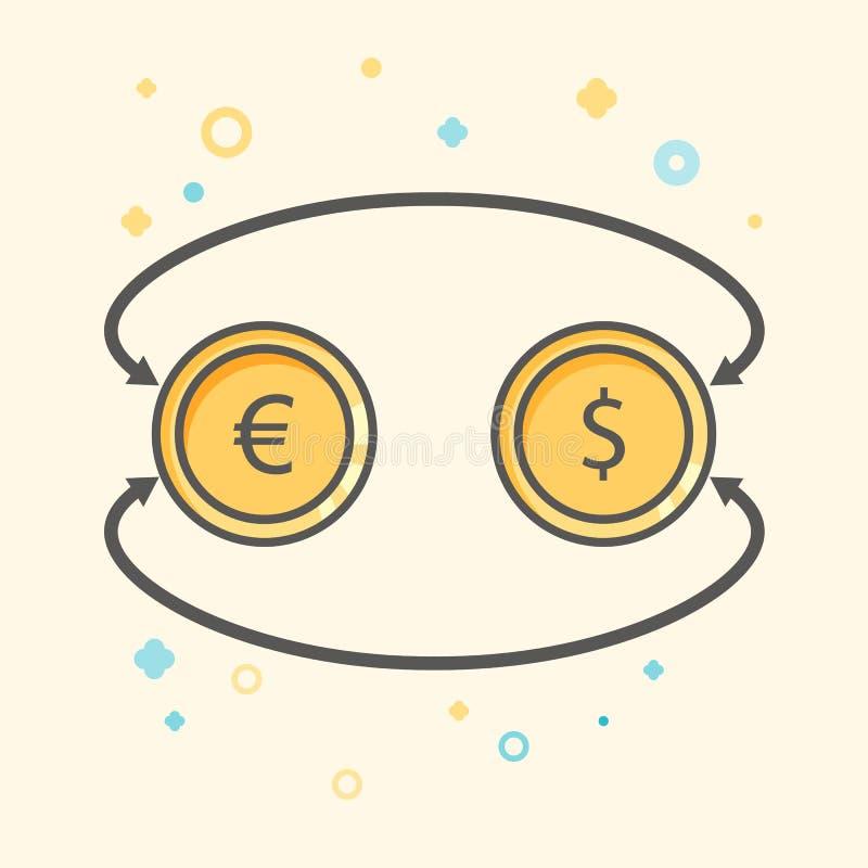 Απλό διανυσματικόεικονίδιο FlatBusinessκαιχρηματοδότησης Ανταλλαγή νομίσματος μεταξύ του δολαρίου και ευρώ Επίπεδο εικονίδι απεικόνιση αποθεμάτων
