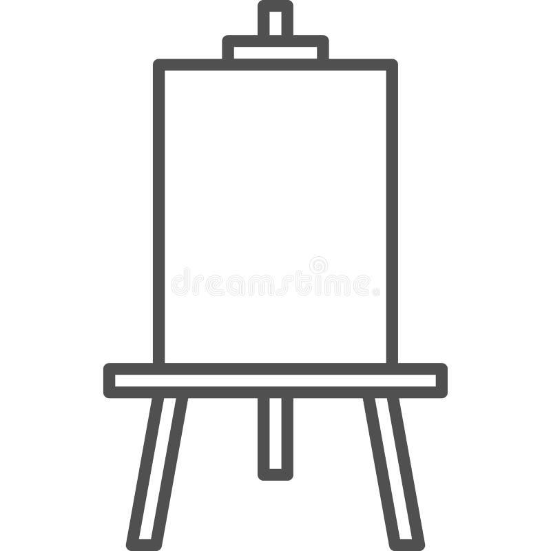 Απλό καλλιτεχνικό και εικονίδιο γραμμών artχόμπιδιανυσματικό Easel σχεδίων για τη ζωγραφική Εικονίδιο ύφους τέχνης γραμμών 48x απεικόνιση αποθεμάτων