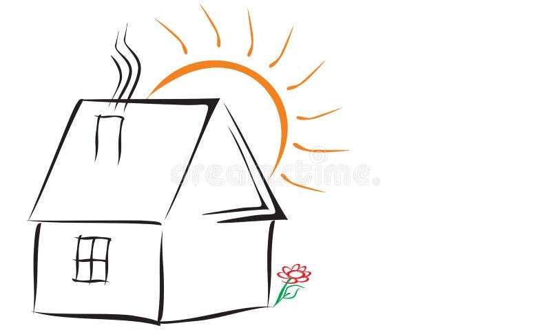 Απλό λογότυπο με το σπίτι στοκ φωτογραφία