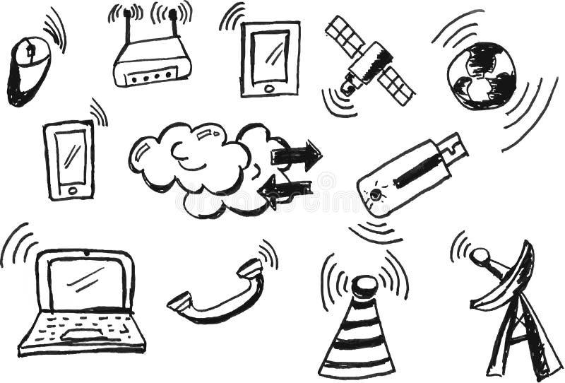 Απλό σήμα τηλεπικοινωνιών doodle διανυσματική απεικόνιση