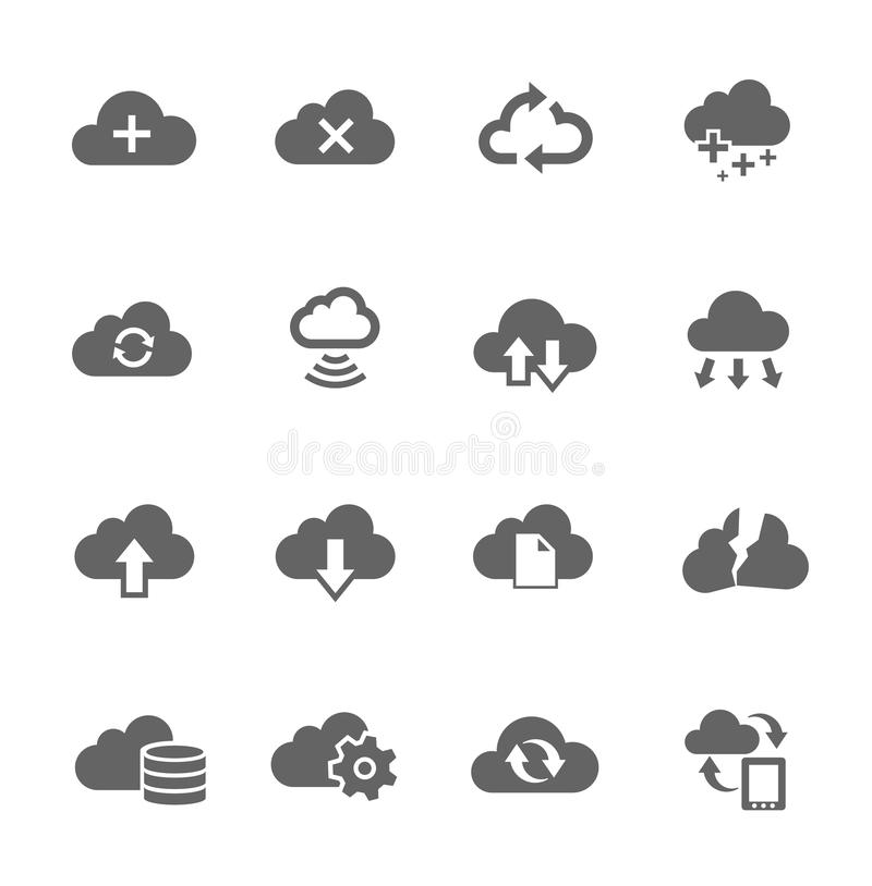Απλό σύνολο εικονιδίων σχετικό με το σύννεφο υπολογισμού απεικόνιση αποθεμάτων