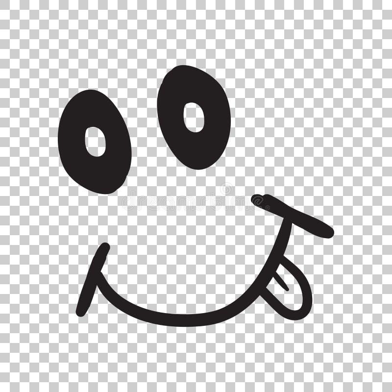 Απλό χαμόγελο με το διανυσματικό εικονίδιο γλωσσών Συρμένο χέρι πρόσωπο doodle άρρωστο απεικόνιση αποθεμάτων