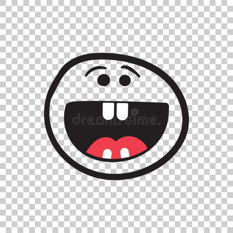 Απλό χαμόγελο με το διανυσματικό εικονίδιο γλωσσών Συρμένο χέρι πρόσωπο doodle άρρωστο ελεύθερη απεικόνιση δικαιώματος