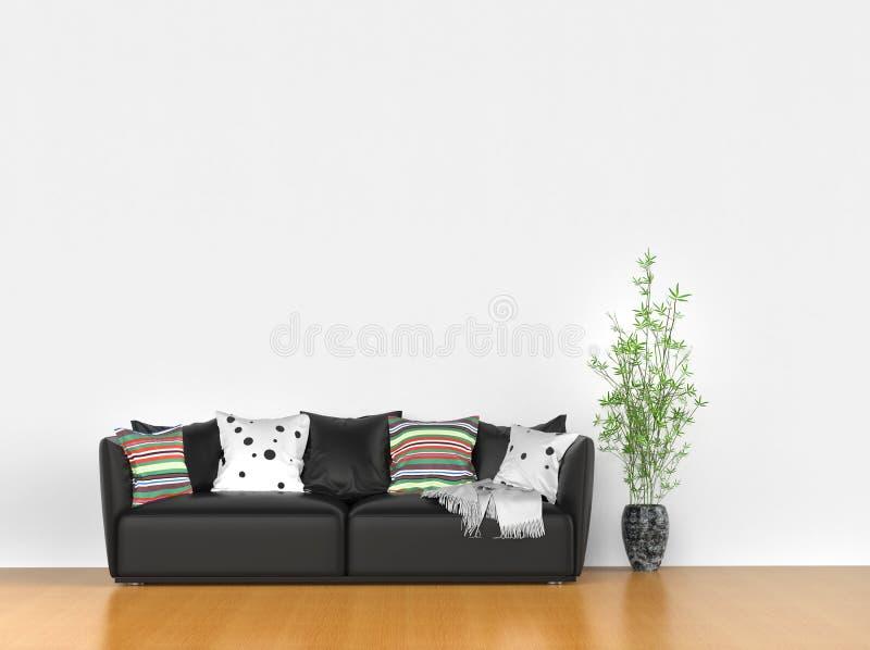Απλό δωμάτιο με το σύγχρονο καναπέ στοκ φωτογραφία με δικαίωμα ελεύθερης χρήσης