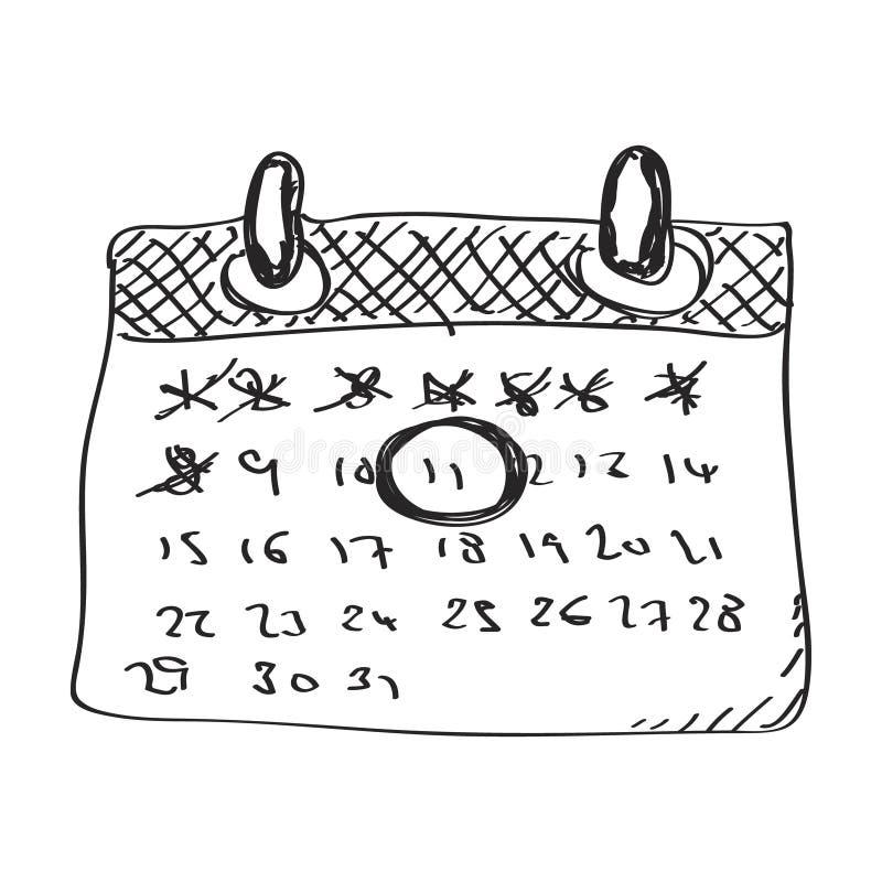 Απλό doodle ενός ημερολογίου διανυσματική απεικόνιση