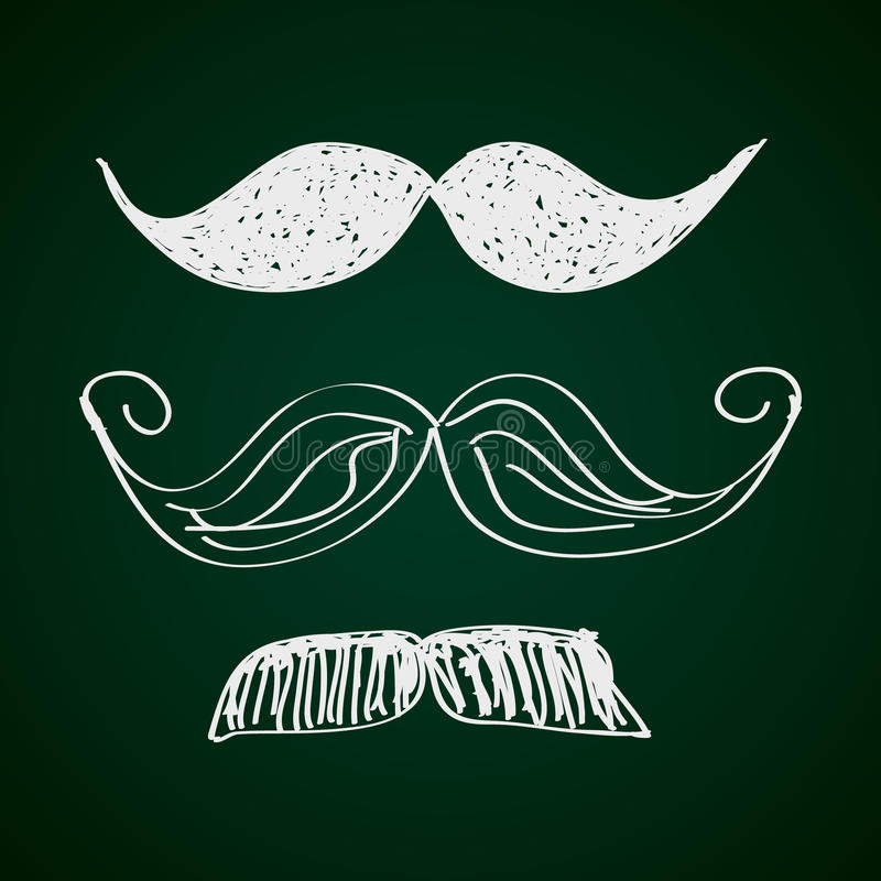 Απλό doodle ενός moustache διανυσματική απεικόνιση