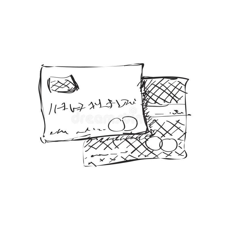 Απλό doodle μιας τραπεζικής κάρτας διανυσματική απεικόνιση