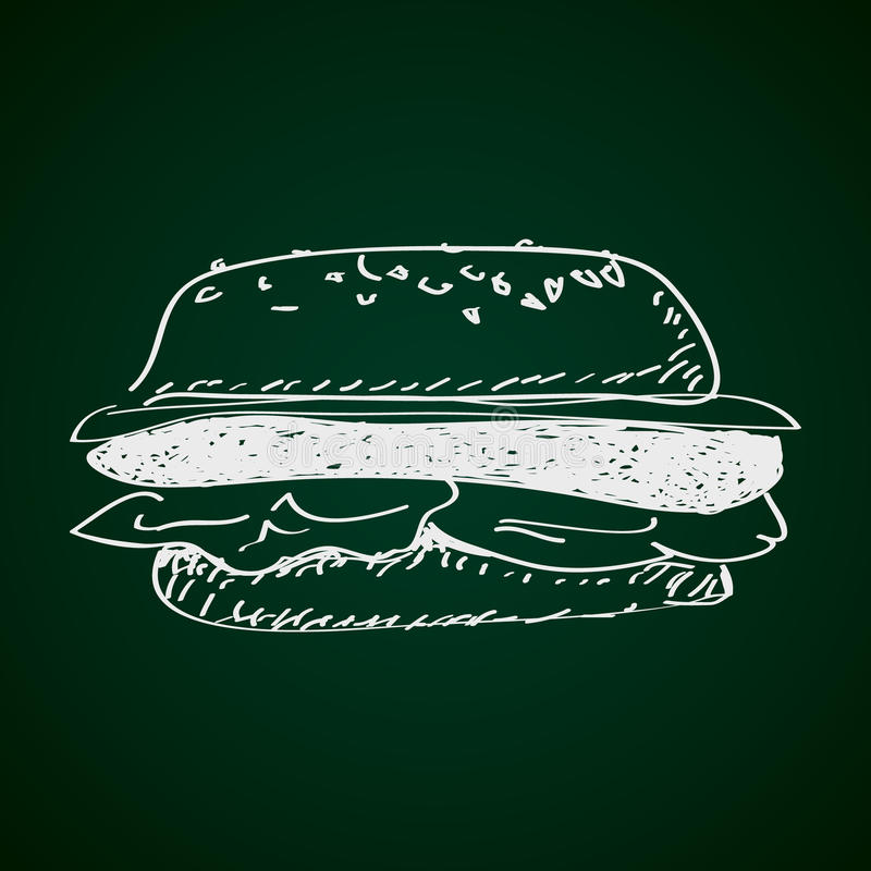 Απλό doodle burger διανυσματική απεικόνιση
