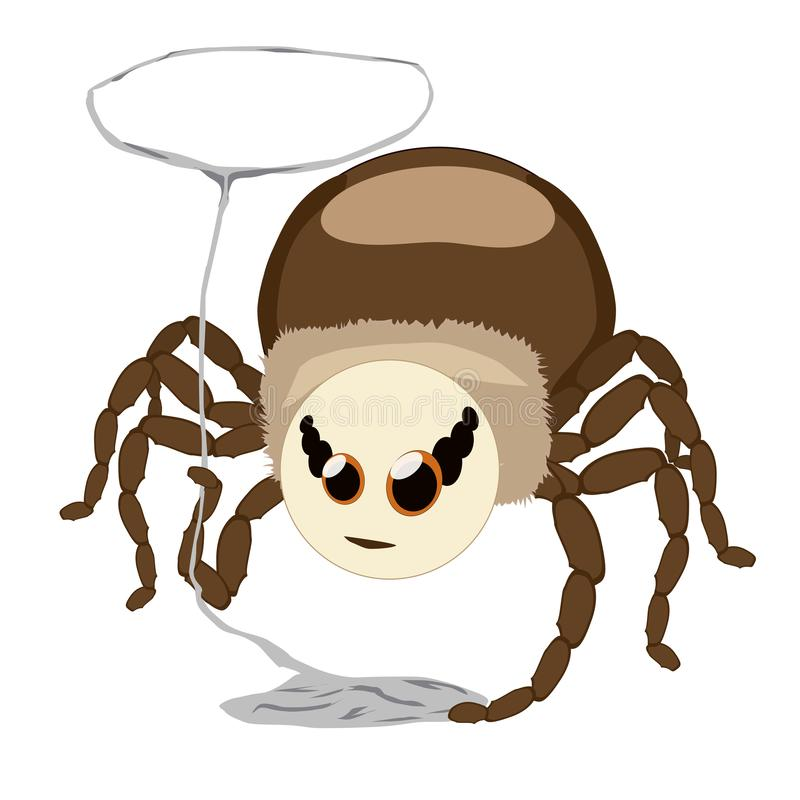 Αράχνη αυτοκόλλητων ετικεττών που απομονώνεται με ένα λάσο φιαγμένο από Ιστό απεικόνιση αποθεμάτων