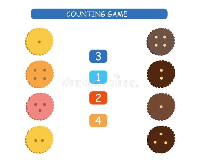 Αρίθμηση και αντιστοιχία - φύλλο εργασίας για τα παιδιά Εκπαιδευτικό και μαθηματικό παιχνίδι για τον παιδικό σταθμό και τον παιδι απεικόνιση αποθεμάτων