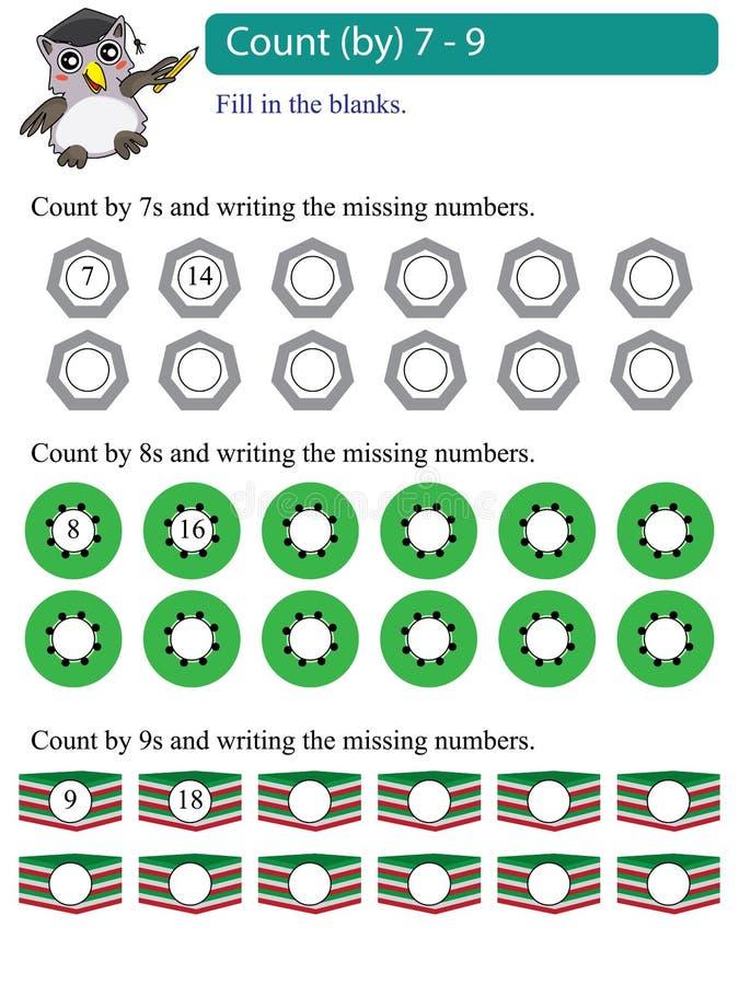 Αρίθμηση πολλαπλασίων Math από 7 - 9 διανυσματική απεικόνιση