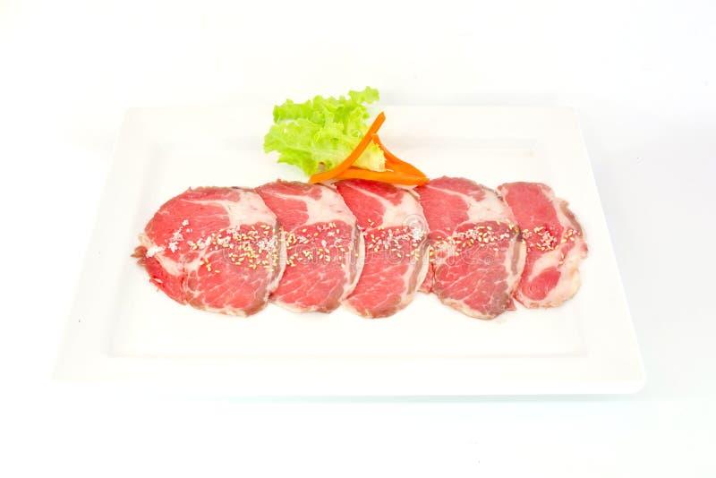 Αρίστης ποιότητας τεμαχισμένο βόειο κρέας wagyu Hida που απομονώνεται στο άσπρο υπόβαθρο στοκ φωτογραφίες με δικαίωμα ελεύθερης χρήσης