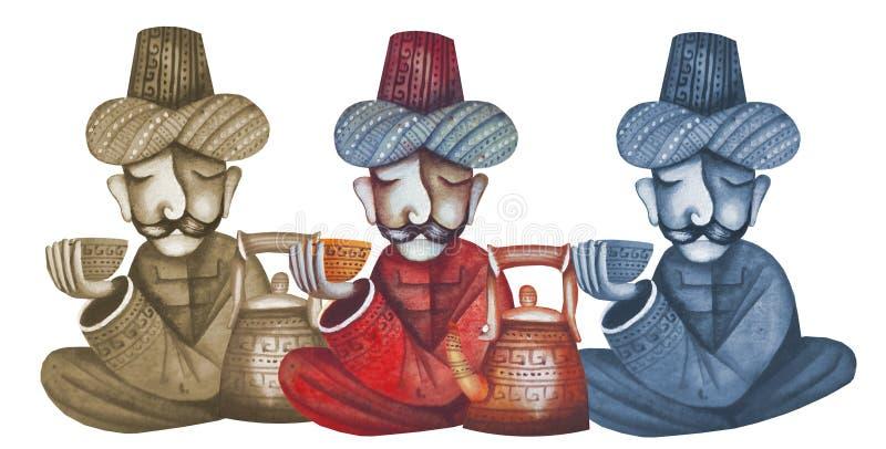 αραβικά άτομα που χύνουν το τσάι ελεύθερη απεικόνιση δικαιώματος