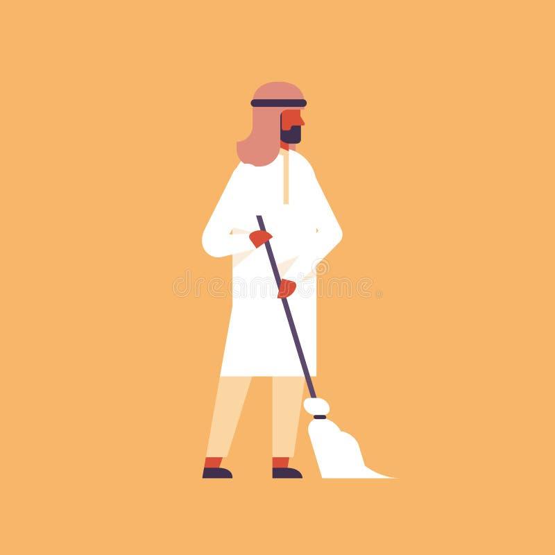Αραβικά ατόμων εκμετάλλευσης σκουπών καθαρίζοντας υπηρεσιών έννοιας αραβικά αρσενικά κινούμενα σχέδια οικοκυρικής επιχείρησης καθ διανυσματική απεικόνιση