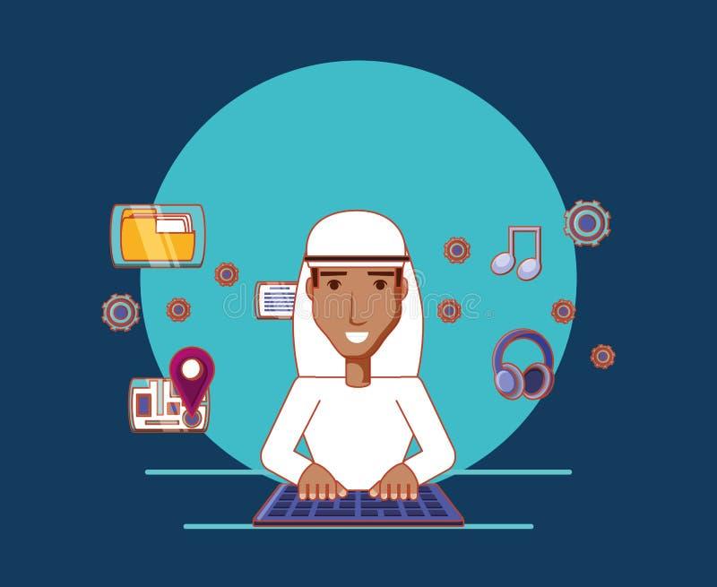 Αραβικά ατόμων κινούμενων σχεδίων δακτυλογράφησης εικονίδια μέσων πληκτρολογίων κοινωνικά διανυσματική απεικόνιση