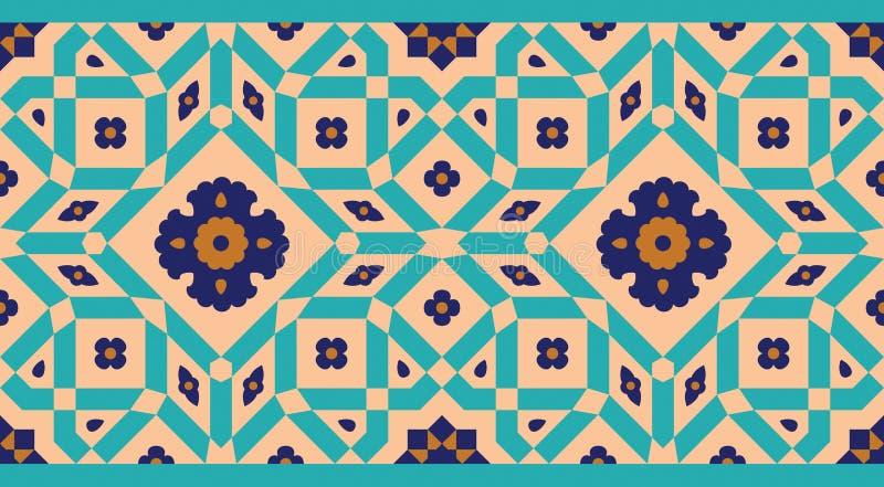 Αραβικά Floral άνευ ραφής σύνορα Παραδοσιακό ισλαμικό σχέδιο ελεύθερη απεικόνιση δικαιώματος