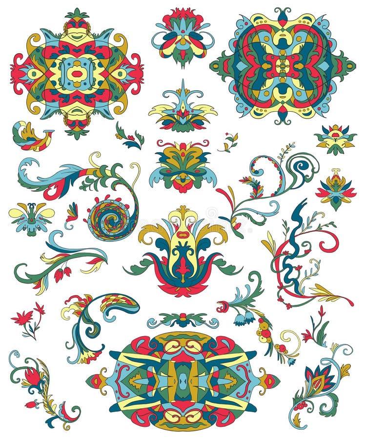 Αραβικές διακοσμήσεις καθορισμένες Παραδοσιακά ισλαμικά floral στοιχεία σχεδίου για το ύφασμα, τυπωμένες ύλες, τυλίγοντας έγγραφο απεικόνιση αποθεμάτων