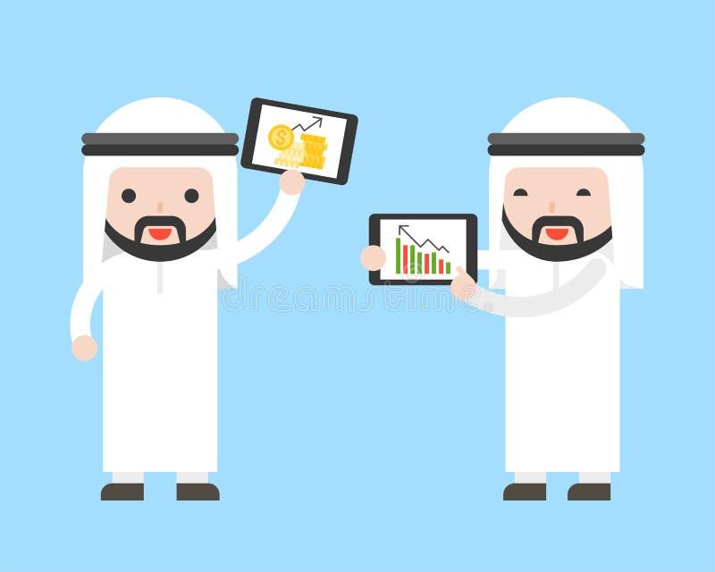Αραβικές κύκλος εργασιών ή πληροφορίες ταμπλετών εκμετάλλευσης επιχειρηματιών παρούσες, ελεύθερη απεικόνιση δικαιώματος