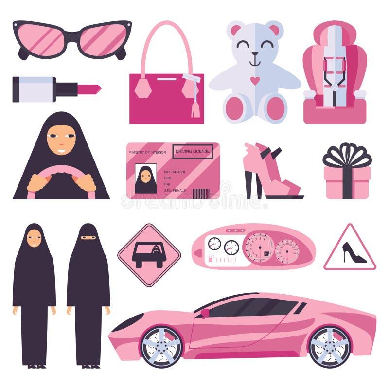 Αραβικές μουσουλμανικές γυναίκες που έχουν την άδεια για την οδήγηση του αυτοκινήτου Κυρία στο nikab και hijab με τα ρόδινα εξαρτ διανυσματική απεικόνιση