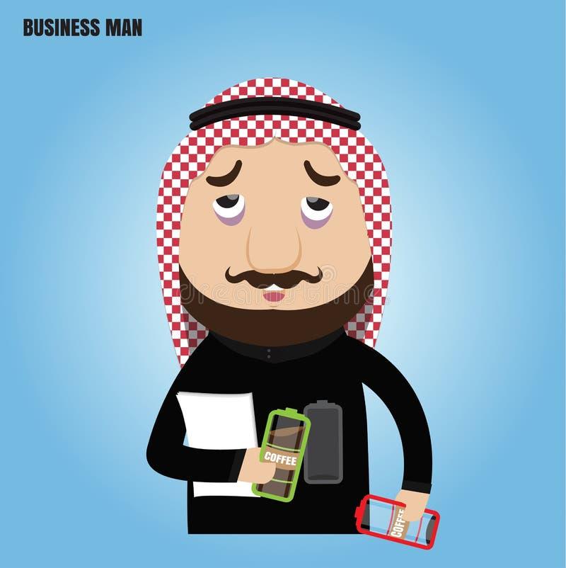 Αραβική ανάγκη επιχειρηματιών να επαναφορτίσουν τον καφέ απεικόνιση αποθεμάτων