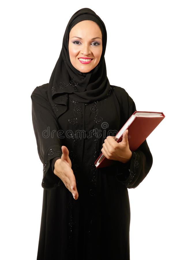 Αραβική γυναίκα, παραδοσιακό ντυμένο χαμόγελο στοκ φωτογραφία με δικαίωμα ελεύθερης χρήσης