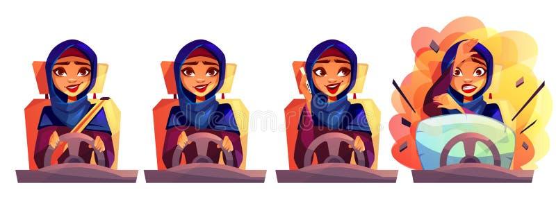 Αραβική διανυσματική απεικόνιση αυτοκινήτων γυναικών οδηγώντας ελεύθερη απεικόνιση δικαιώματος