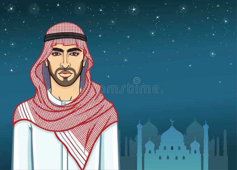 Αραβική νύχτα Πορτρέτο ζωτικότητας του όμορφου αραβικού ατόμου στα παραδοσιακά ενδύματα διανυσματική απεικόνιση