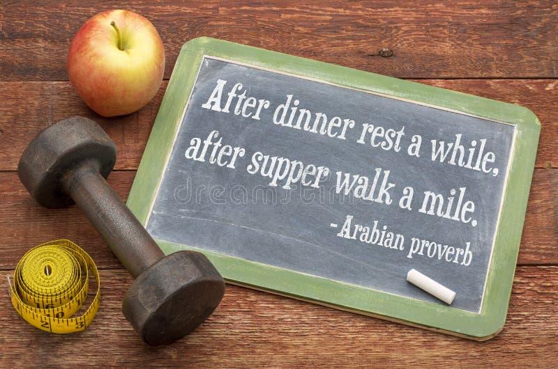 Αραβική παροιμία σχετική με την υγιή διαβίωση στοκ φωτογραφία