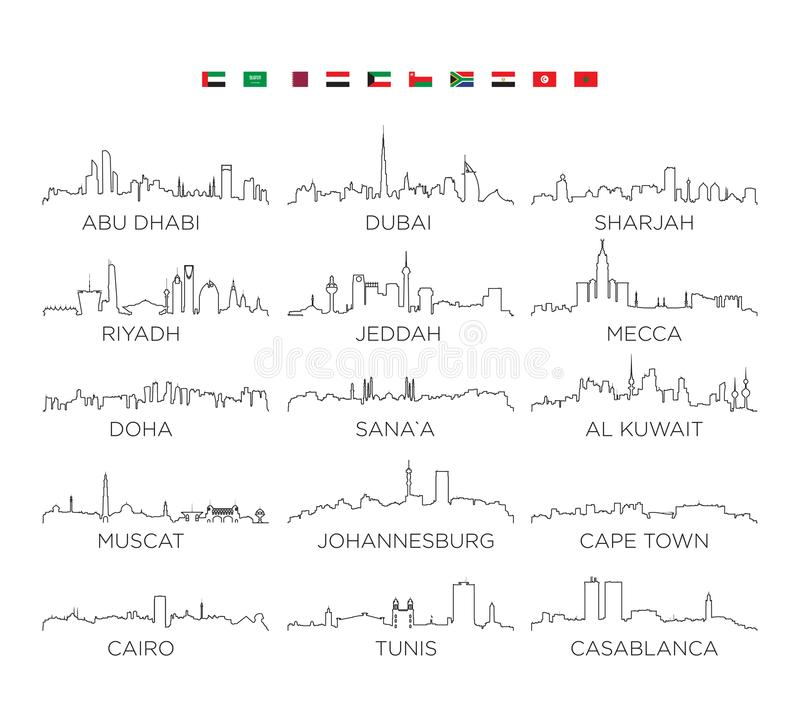 Αραβική χερσόνησος και τέχνη γραμμών πόλεων οριζόντων της Αφρικής, διανυσματικό σχέδιο απεικόνισης απεικόνιση αποθεμάτων