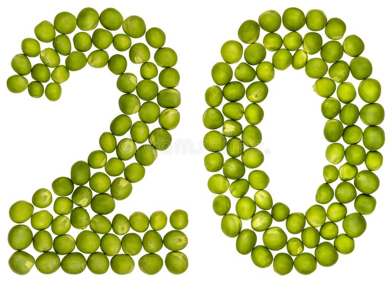 Αραβικός αριθμός 20, είκοσι, από τα πράσινα μπιζέλια, που απομονώνονται στο άσπρο BA στοκ φωτογραφία με δικαίωμα ελεύθερης χρήσης
