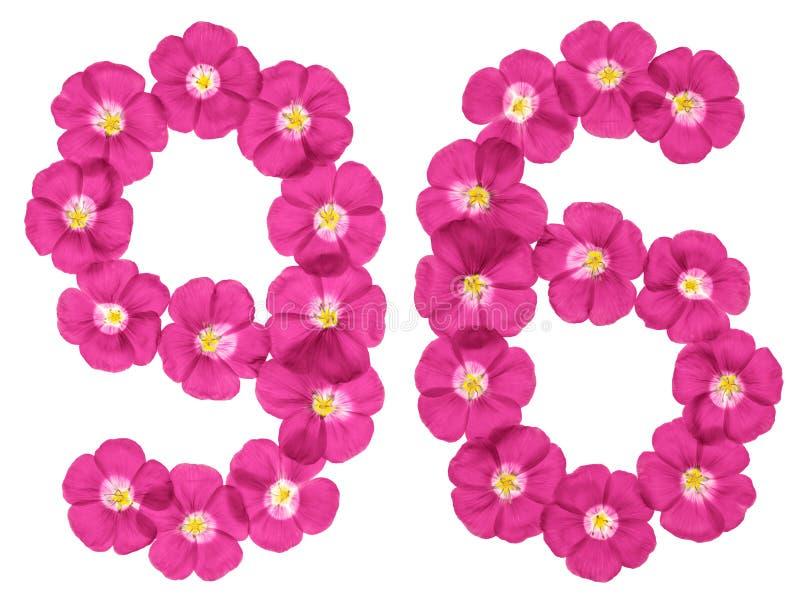 Αραβικός αριθμός 96, ενενήντα έξι, από τα ρόδινα λουλούδια του λιναριού, που απομονώνονται στο άσπρο υπόβαθρο διανυσματική απεικόνιση